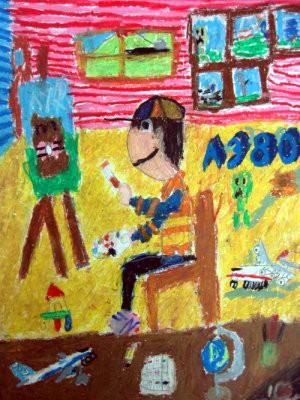 作者: 张毓文 障别: 轻度智障 作品分享: 我的梦想是和家 人坐飞机